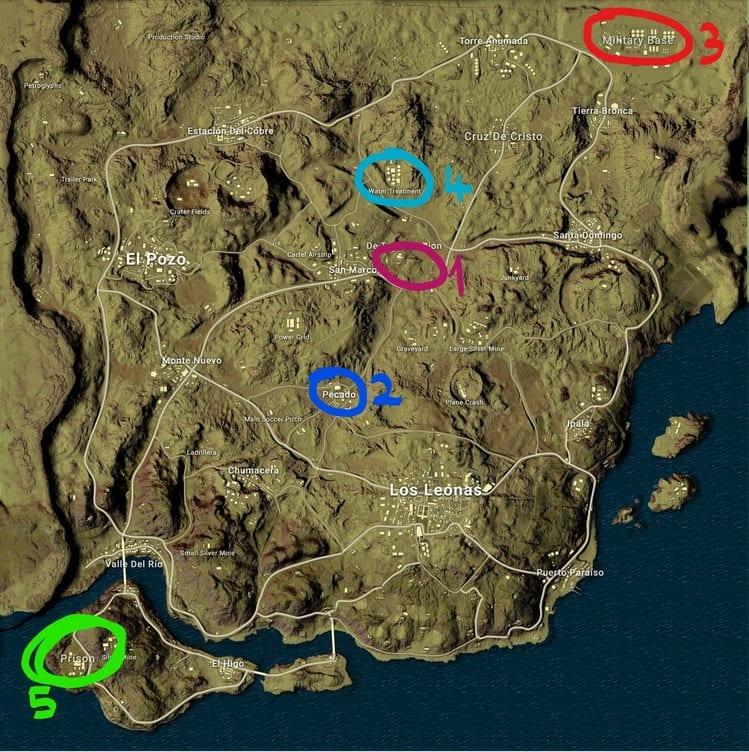 pubg col miramar haritasi loot yerleri